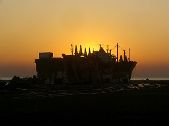 Chittagong Ship Breaking Yard - Sunset at a ship breaking yard in Chittagong