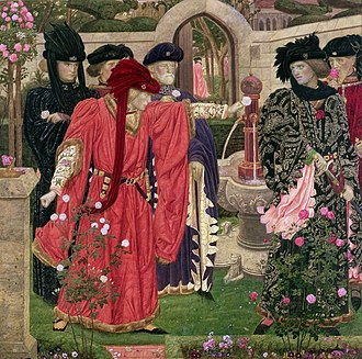 Henry Payne (artist) - Choosing the Red and White Roses in the Temple Garden (1908–10), pen and watercolour, gouache, gold-leaf and oil.