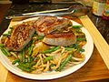 Chops and beans and noodles (1027292869).jpg