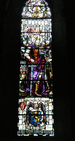 Sarah Purser - Stained glass window in St. Patrick's Cathedral, Dublin, by Sarah Purser made in 1906: a depiction of King Cormac of Cashel