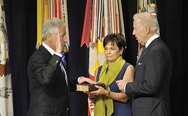 File chuck hagel sworn in as 24th secretary of defense by joe biden