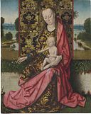 Circle of Dieric Bouts - The Virgin and Child before a Gold Brocaded Throne.jpg