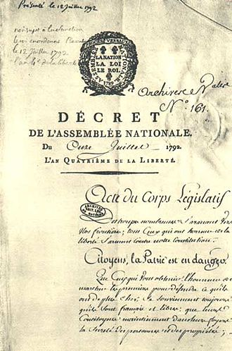 La patrie en danger - Declaration of the French National Assembly from 1792
