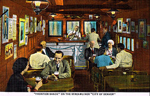 "City of Denver (train) - The interior of the ""Frontier Shack"" baggage-tavern car in the 1940s."