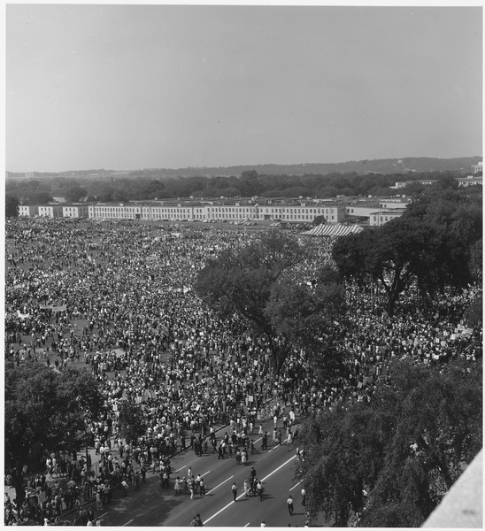 File:Civil Rights March on Washington, D.C. (Aerial view of the crowd of marchers on the mall and street.) - NARA - 541998.tif