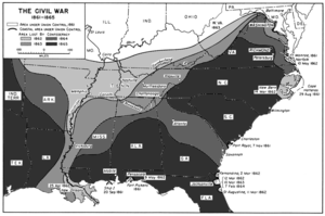 A map of the U.S. South showing shrinking territory under rebel control