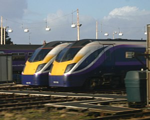 "British Rail Class 180 - Northern Rail operated three Adelantes, in a more purple version of FirstGroup's ""Barbie"" livery."