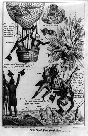 United States presidential election, 1844 - Political cartoon predicting Polk's defeat by Clay