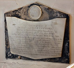 Charles Herbert Cottrell - Monument to Clement Cottrell (died in London 26 July 1814) in St Mary the Virgin, Monken Hadley.