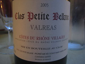 French wine from the Rhone valley wine region ...