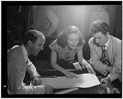 Clyde Lombardi, Barbara Carroll, Chuck Wayne. Downbeat, NYC, ca Sept 1947 Gottlieb