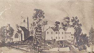 Goddard family - Image: Clyffe Pypard Manor House and Church c.1754