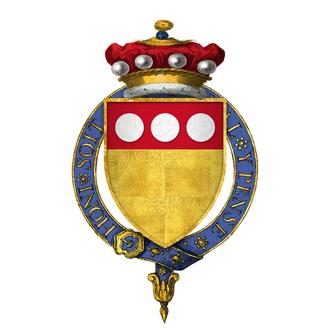 Thomas de Camoys, 1st Baron Camoys - Arms of Sir Thomas de Camoys, 1st Baron Camoys, KG: Or, on a chief gules three plates''
