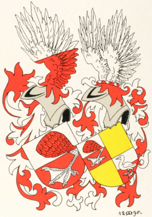 Anna Henriette Gossler - The coat of arms of the Gossler family; the version adopted by her father in 1773 to the left; the version used from the early 19th century to the right