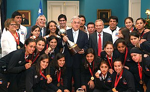 Copa Libertadores Femenina - Chile's former president Sebastián Piñera with Colo Colo (2012) - the first non-Brazilian club to win the trophy.