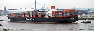 Cargo ship - The Colombo Express, one of the largest container ships in the world (when she was built in 2005), owned and operated by Hapag-Lloyd of Germany