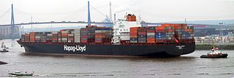 Merchant ship - Colombo Express, one of the largest container ships in the world, owned and operated by Hapag-Lloyd of Germany
