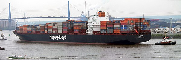 The Colombo Express, one of the largest container ships in the world (when she was built in 2005), owned and operated by Hapag-Lloyd of Germany Colombo.Express.wmt.jpg