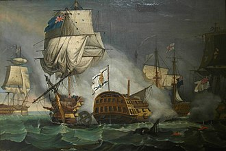 Battle of Cape St. Vincent (1780) - Image: Combate De Santa María Entre La Escuadra Del Almirante Rodney Y El General Lángara 1780