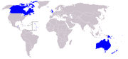 The Commonwealth realms, indicated in blue.