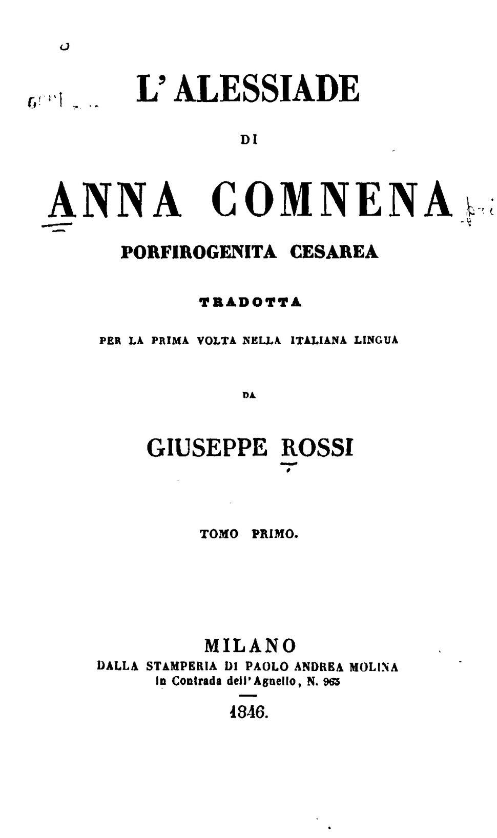 Comnena - Alessiade, 1846, tomo primo (Rossi).djvu