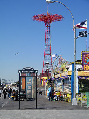 Parachute Jump - Coney Island's Riegelmann Boardwalk and Parachute Jump on a sunny morning