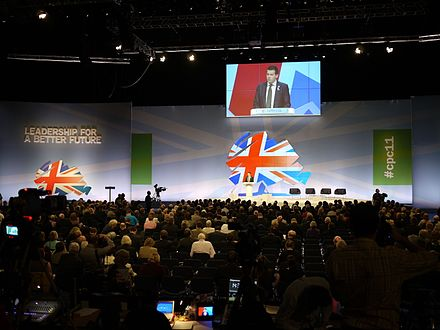 The National Conservative Convention is held during the Conservative Party Conference. Conservative Party conference 2011.jpg