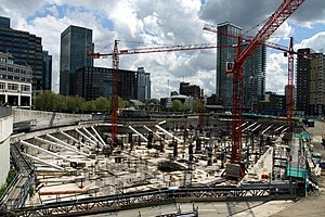 Riverside South (Canary Wharf) - Construction of Riverside South, May 2013