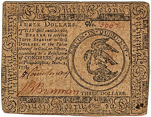 Continental Currency $3 banknote obverse (November 2, 1776).jpg