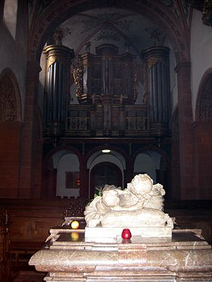 Steinfeld Abbey - Tomb of Hermann Joseph (note the apple), with the König-Orgel in the background