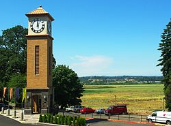 Corban College clock tower valley view.JPG