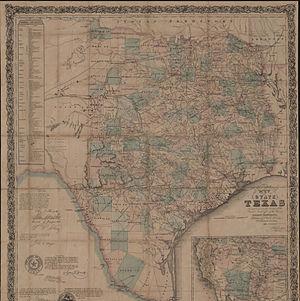 Jacob De Cordova - J. de Cordova's Map, State of Texas (c. 1866)