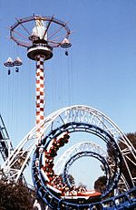 Corkscrew and Sky Jump, Knott's Berry Farm, circa 1980.jpg