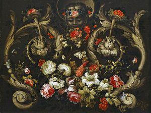 Gabriel de la Corte - Grotesques with Flowers (Roses and Tulips), Museo Nacional del Prado
