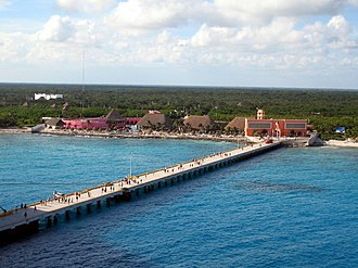 Costa Maya - The resort of Costa Maya Port viewed from a cruise ship docked at the pier.