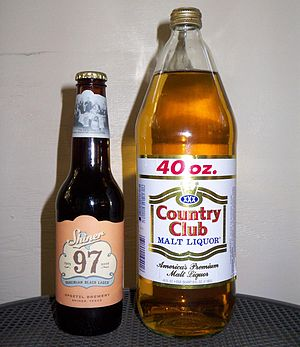 Malt liquor - A 12oz (355mL) longneck beer bottle (left) and a 40oz (1183 mL) bottle of malt liquor