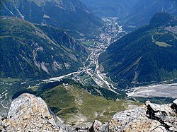 Courmayeur from Rifugio Torino in August 2009