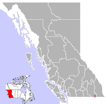 Location of Creston in British Columbia