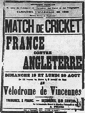 Cricket at the 1900 Summer Olympics - Poster of the only Olympic cricket match