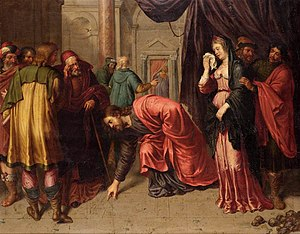 Jesus and the woman taken in adultery.