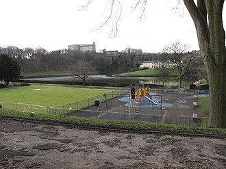 Crookes Valley Park - Looking across the playground and bowling green, the Dam House is the cream coloured building.