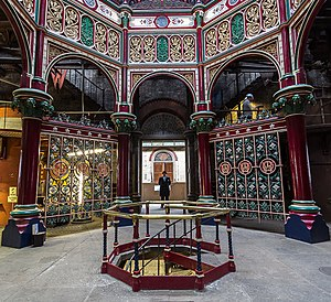 Crossness Pumping Station - Elaborate decorative ironwork in the Octagon.