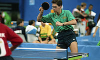 Csaba Bobary playing table tennis at 1992 Paralympics.jpg