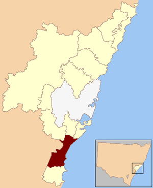 Cunningham by-election, 2002 - Cunningham (dark) within New South Wales
