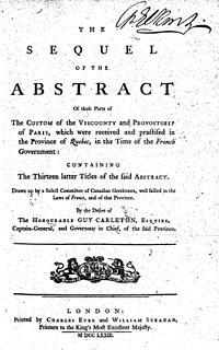 Custom of Paris in New France