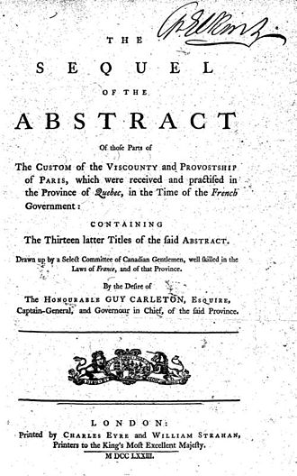 Custom of Paris in New France - The Custom of Paris as practised in New France during the French government