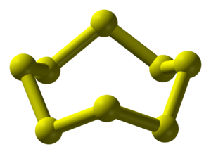 Allotropes of sulfur - The allotrope of the element, sulfur, most prevalent in nature, cyclo-octasulfur (cyclo-S8).