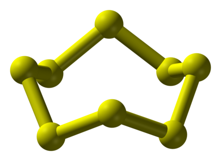 The structure of the cyclooctasulfur molecule, S8 Cyclooctasulfur-above-3D-balls.png