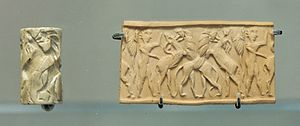 Mari, Syria - Cylinder seal from the second kingdom's era. (25th century BC)