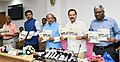 D.V. Sadananda Gowda releasing a booklet at a press conference on the achievements of the Ministry of Statistics and Programme Implementation, during the last four years, in New Delhi.JPG